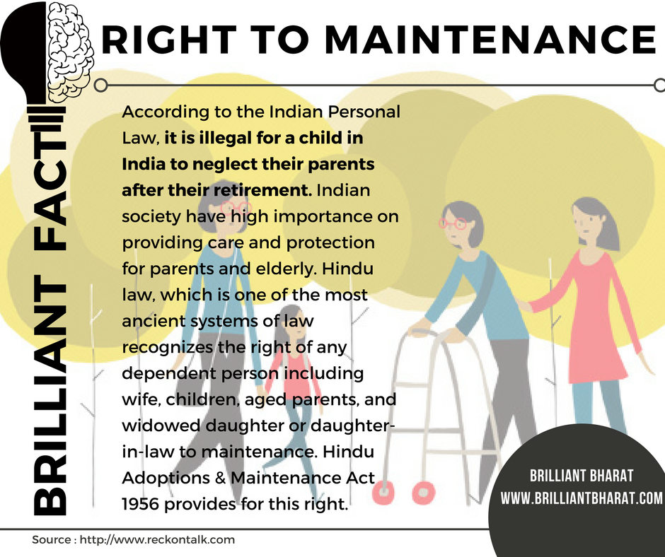 Right to maintenance: it is illegal for a child in India to neglect their parents after their retirement.