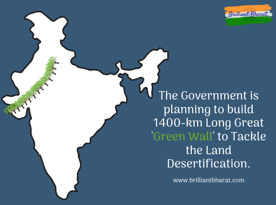 The government is planning to build 1400-km Long Great 'Green Wall' to Tackle the Land Desertification.